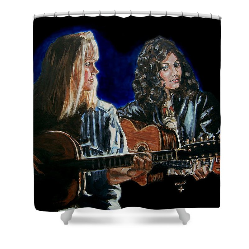 Katie Melua Shower Curtain featuring the painting Eva Cassidy And Katie Melua by Bryan Bustard