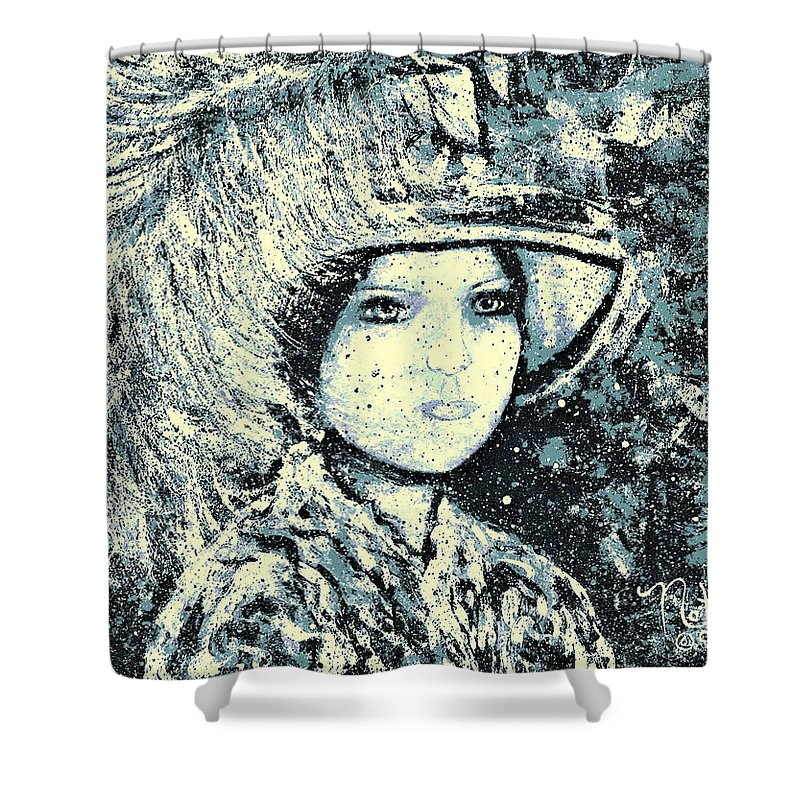 Woman Shower Curtain featuring the painting Evalina by Natalie Holland