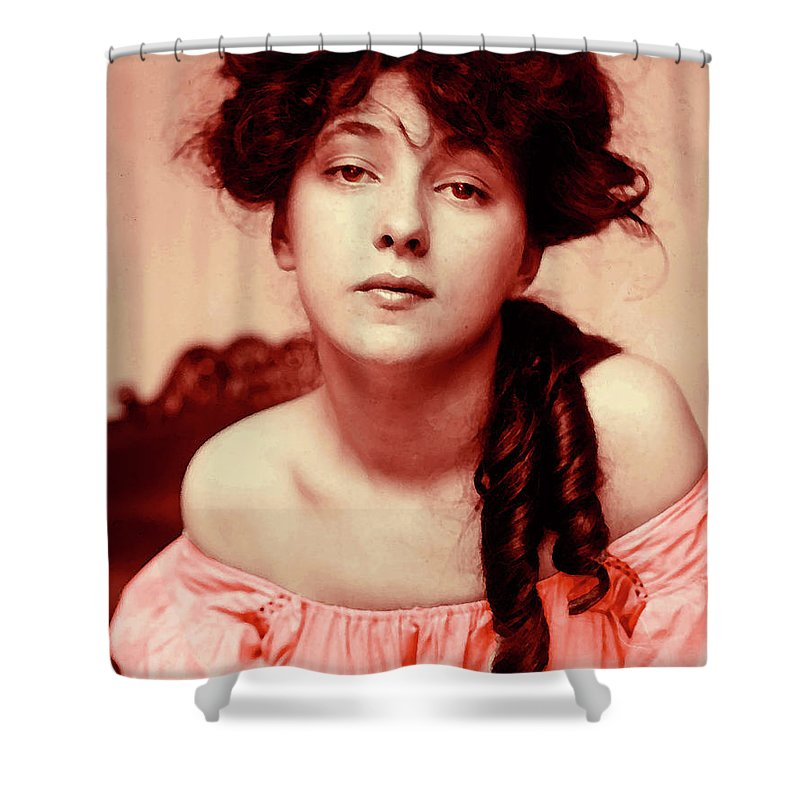 Girl Shower Curtain featuring the mixed media Evelyn On Aquarell by Steve K