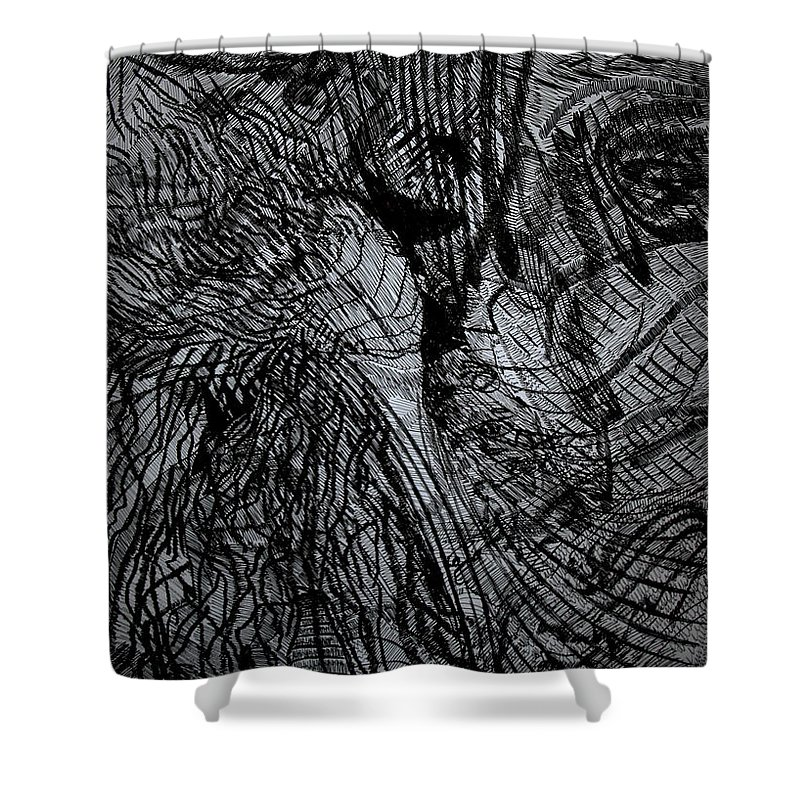 Love Shower Curtain featuring the drawing Even God Falls In Love by Gloria Ssali