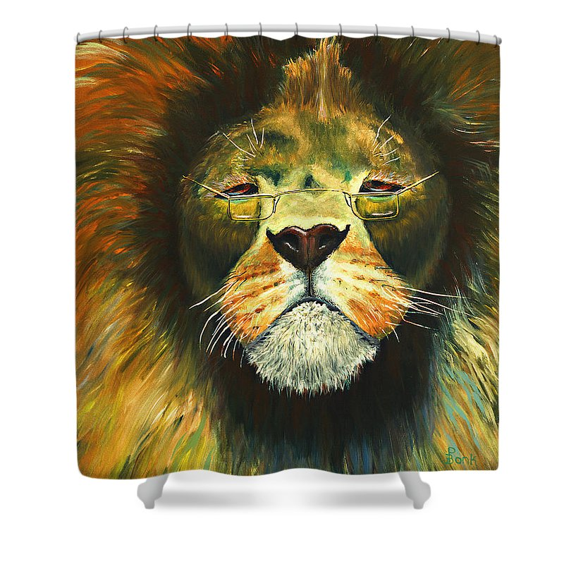 Lion Shower Curtain featuring the painting Even Lions Get Old by Peter Bonk