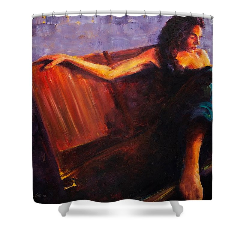 Figure Shower Curtain featuring the painting Even Though by Jason Reinhardt