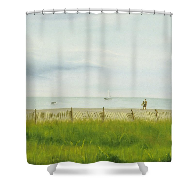 Seascape Shower Curtain featuring the painting Evening At Cape May by Lea Novak