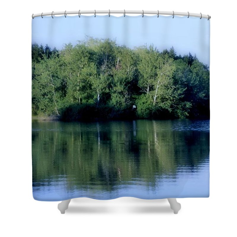Blue Shower Curtain featuring the photograph Evening At The Lake by Kathleen Struckle