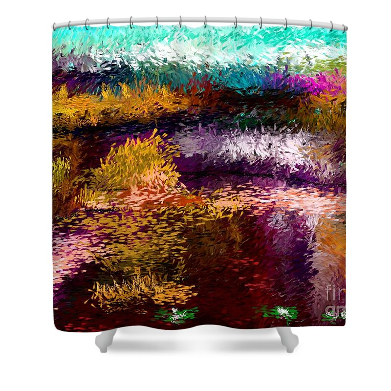 Abstract Shower Curtain featuring the digital art Evening At The Pond by David Lane