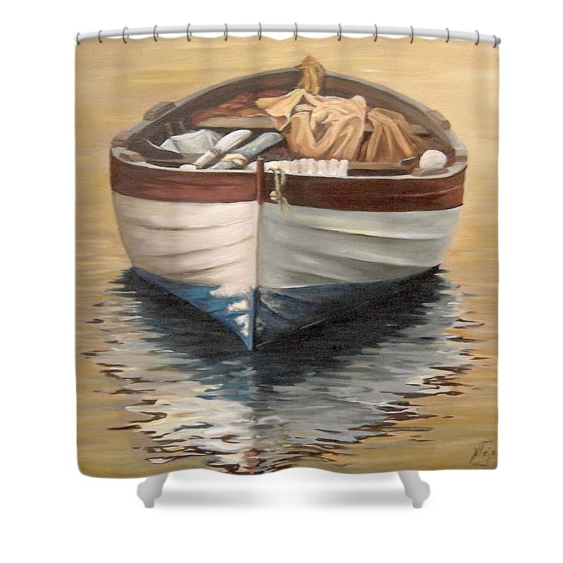 Boats Reflection Seascape Water Shower Curtain featuring the painting Evening Boat by Natalia Tejera