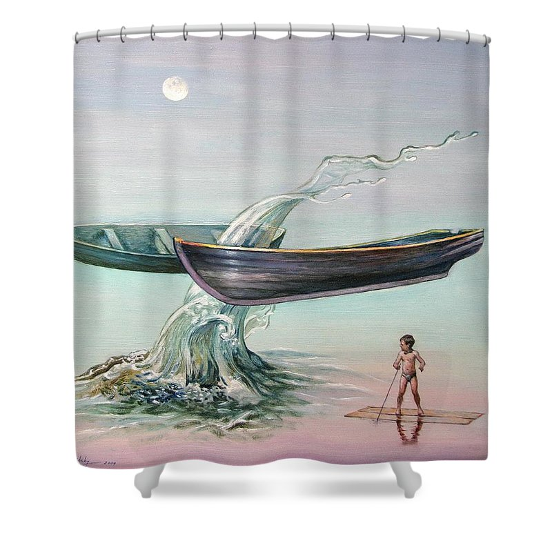 Surrealism Shower Curtain featuring the painting Evening Flight by Alexander Chernitsky