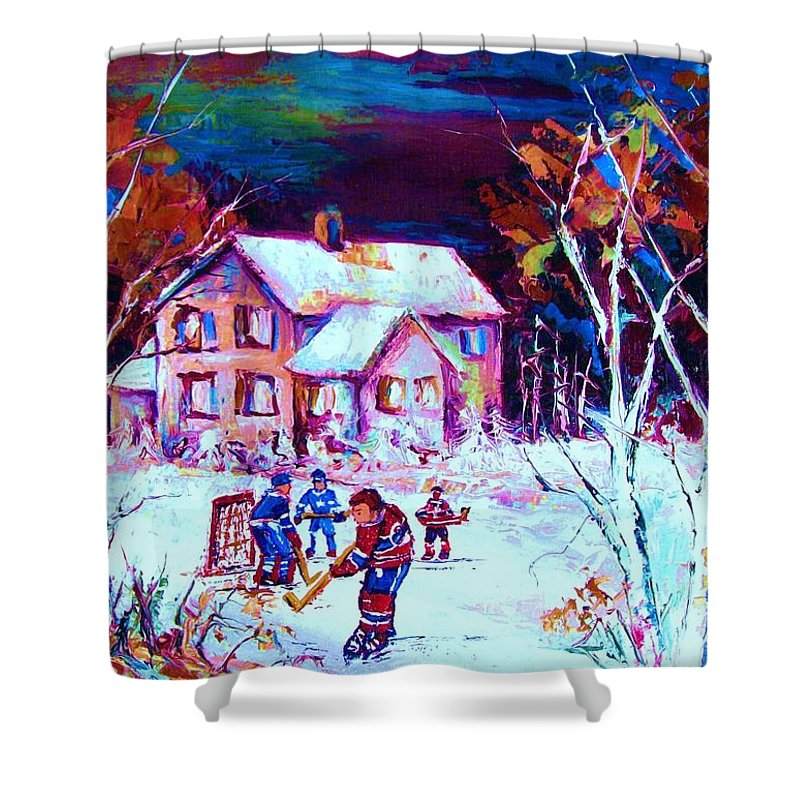 Hockey Game In The Country Shower Curtain featuring the painting Evening Game At The Chalet by Carole Spandau
