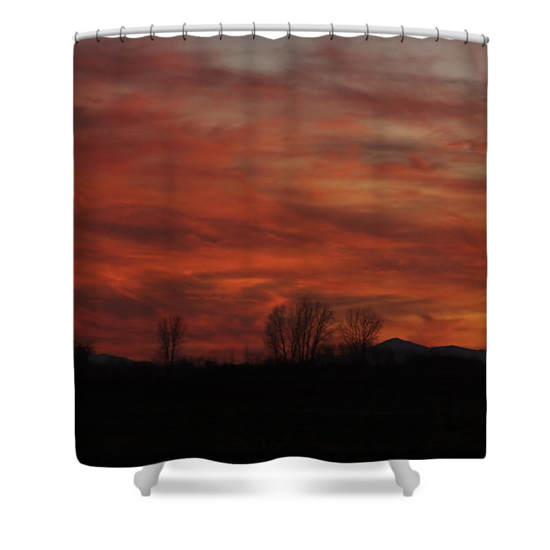 Sunset Shower Curtain featuring the photograph Evening In Red by Deborah Benoit