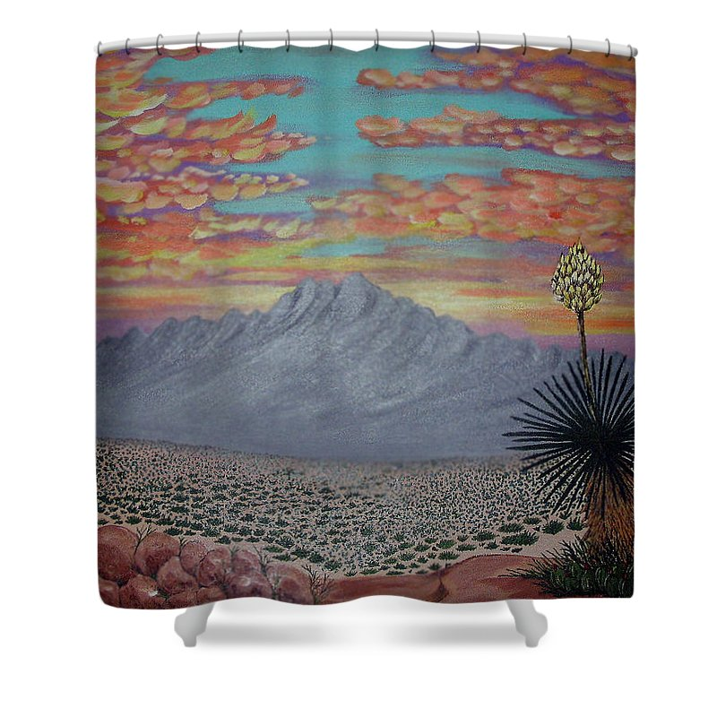 Desertscape Shower Curtain featuring the painting Evening In The Desert by Marco Morales