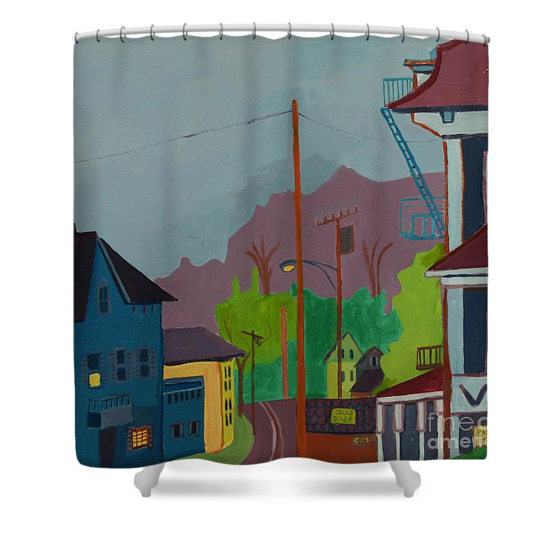 Town Shower Curtain featuring the painting Evening in Town Chelmsford MA by Debra Bretton Robinson