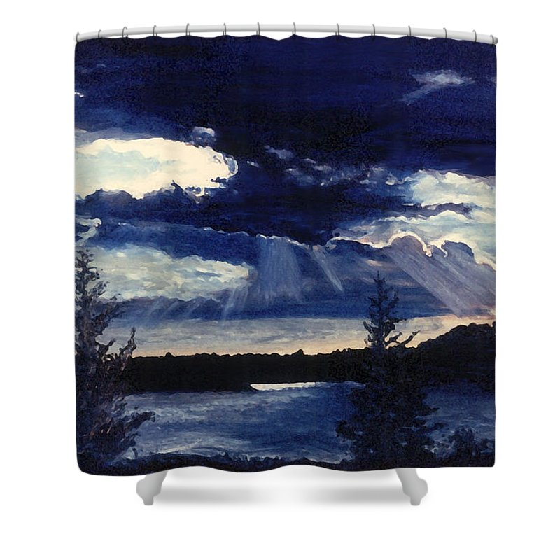 Landscape Shower Curtain featuring the painting Evening Lake by Steve Karol