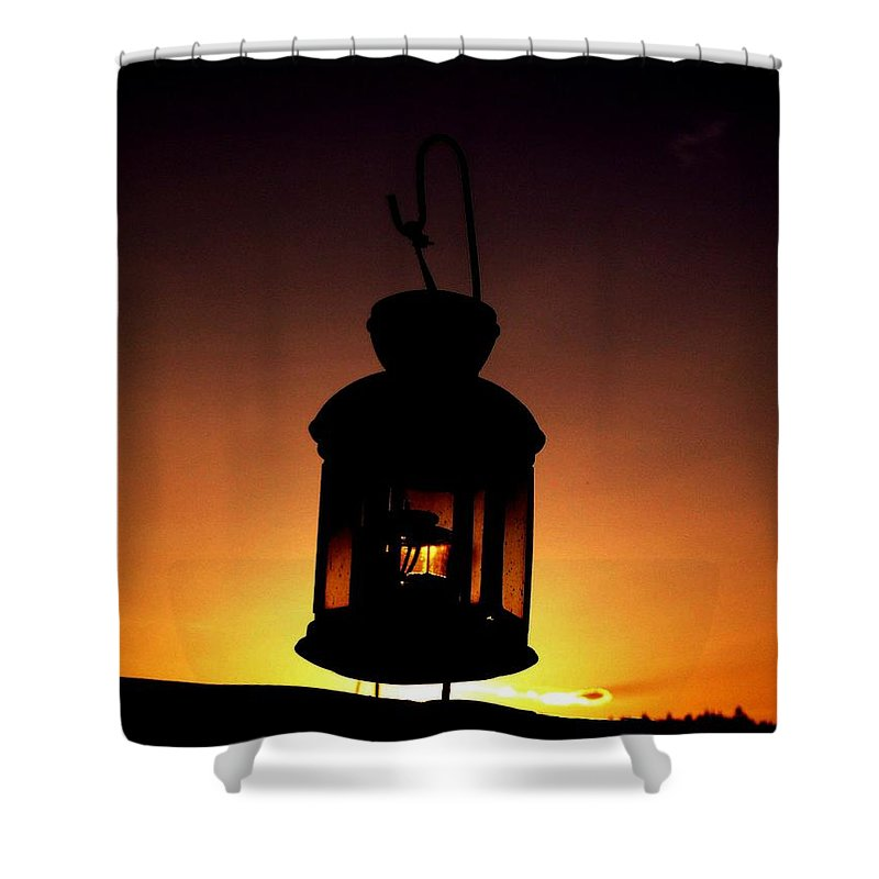 Lantern Shower Curtain featuring the photograph Evening Lantern by Tim Allen