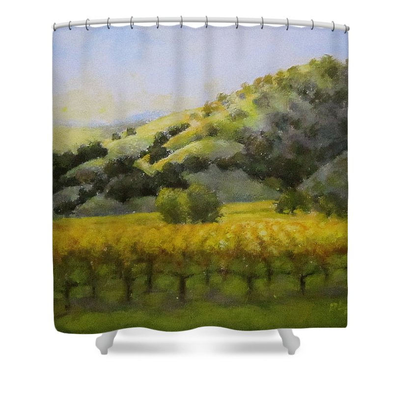 Vineyard Shower Curtain featuring the painting Evening Light by David LeRoy Walker