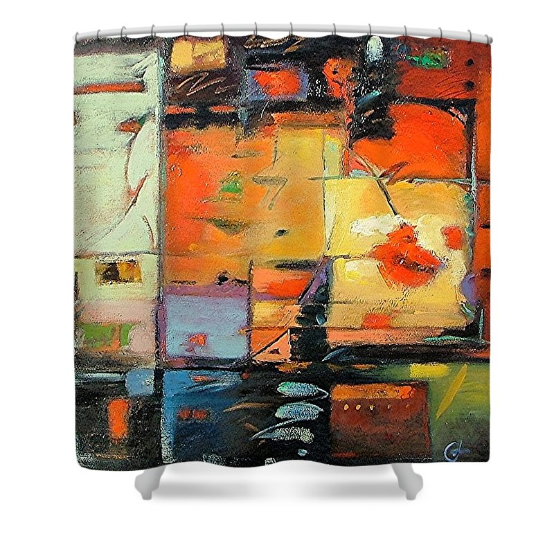 Abstract Painting Shower Curtain featuring the painting Evening Light by Gary Coleman