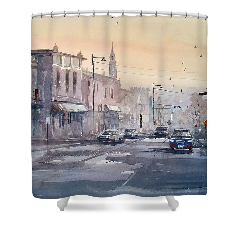 Watercolor Shower Curtain featuring the painting Evening Light In Appleton by Ryan Radke