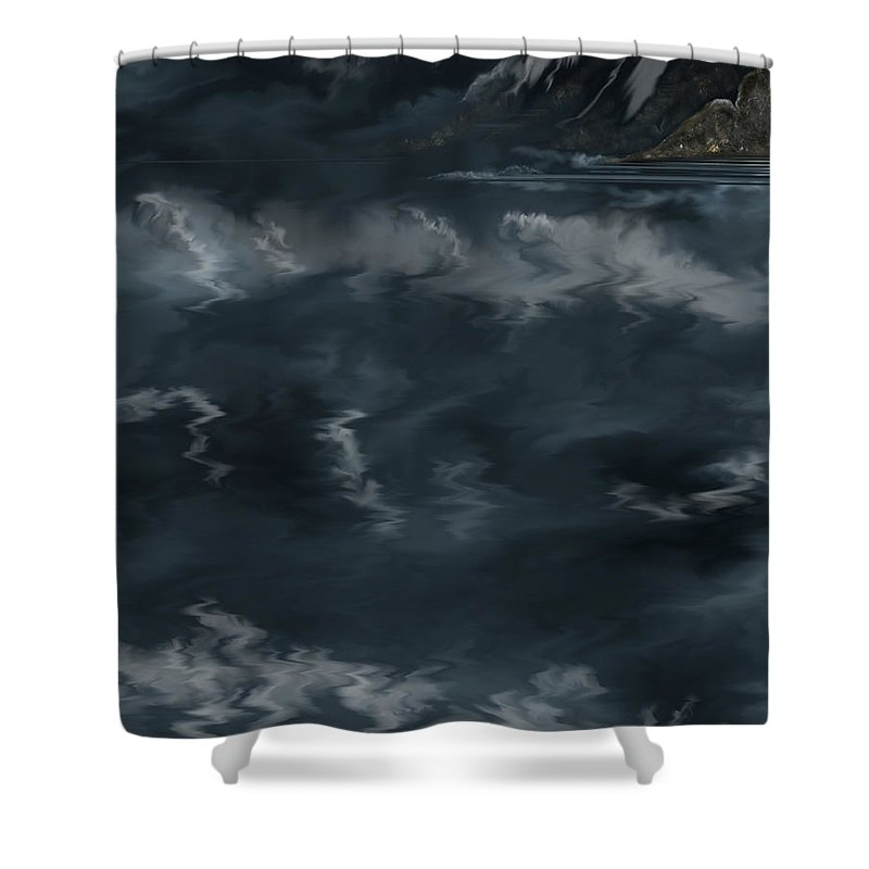 Seascape Shower Curtain featuring the painting Evening Lights And Rocks by Anne Norskog