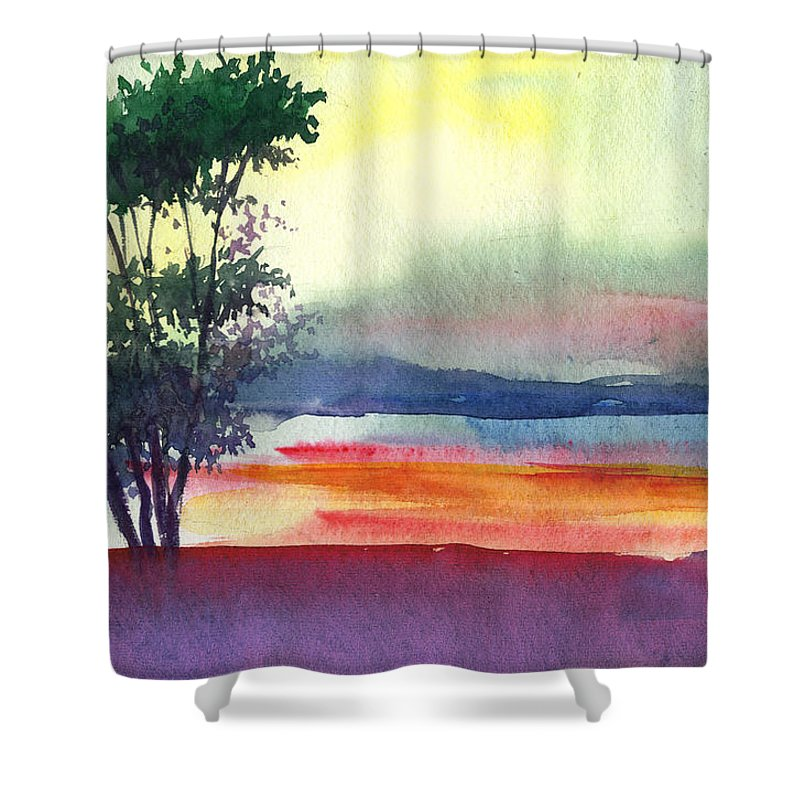 Water Color Shower Curtain featuring the painting Evening Lights by Anil Nene