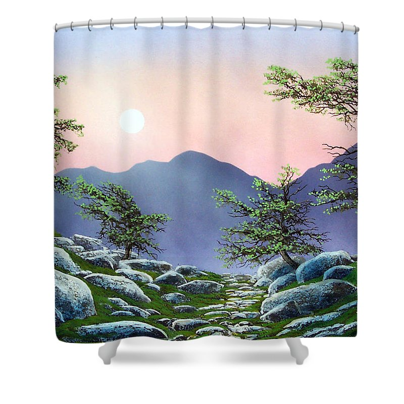 Evening Moonrise Shower Curtain featuring the painting Evening Moonrise by Frank Wilson