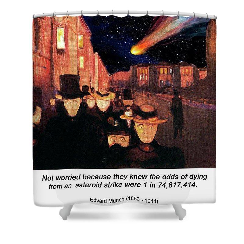 Altered Art Shower Curtain featuring the digital art Evening On Karl Johan Street 1892 by John Saunders