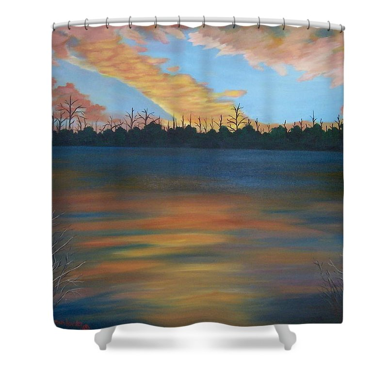 Landscape Shower Curtain featuring the painting Evening Peace by Ruth Housley