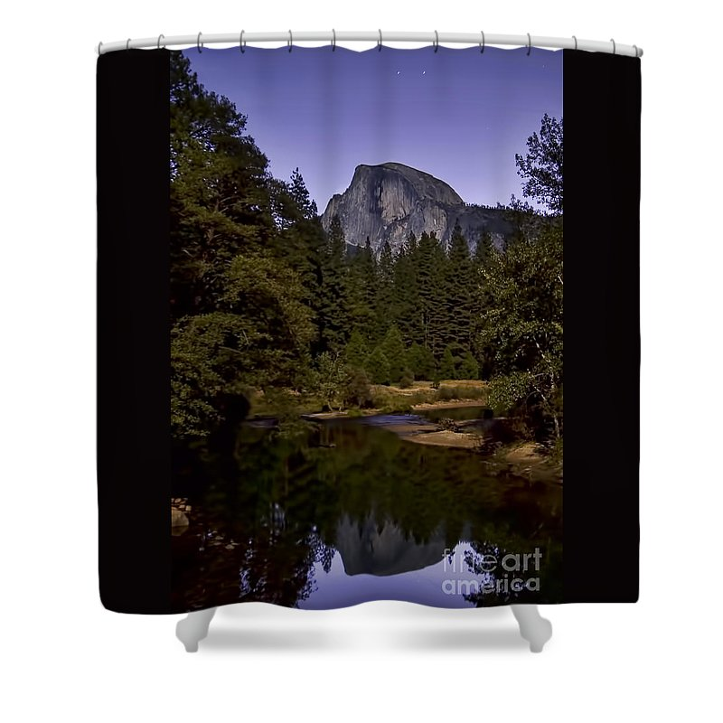 Landscape Shower Curtain featuring the photograph Evening Reflection by Richard Verkuyl