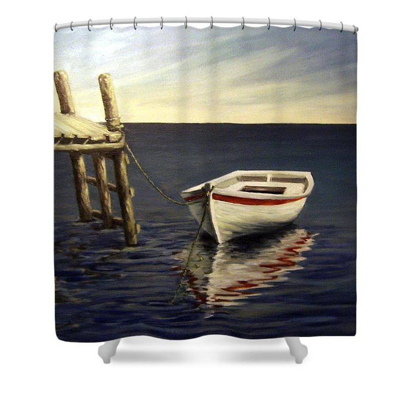 Sea Water Reflection Boat Seascape Coast Evening Dawn Marine Shower Curtain featuring the painting Evening Sea by Natalia Tejera