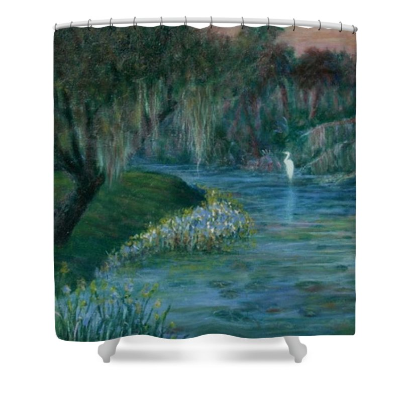 Low Country; Egrets; Lily Pads Shower Curtain featuring the painting Evening Shadows by Ben Kiger