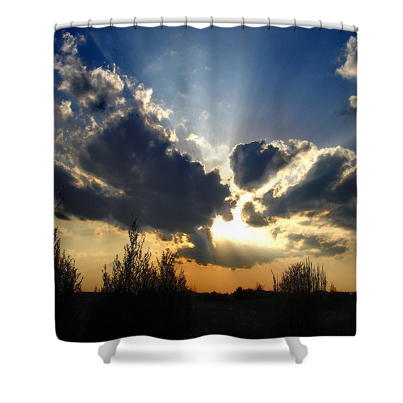 Landscape Shower Curtain featuring the photograph Evening Sky by Steve Karol