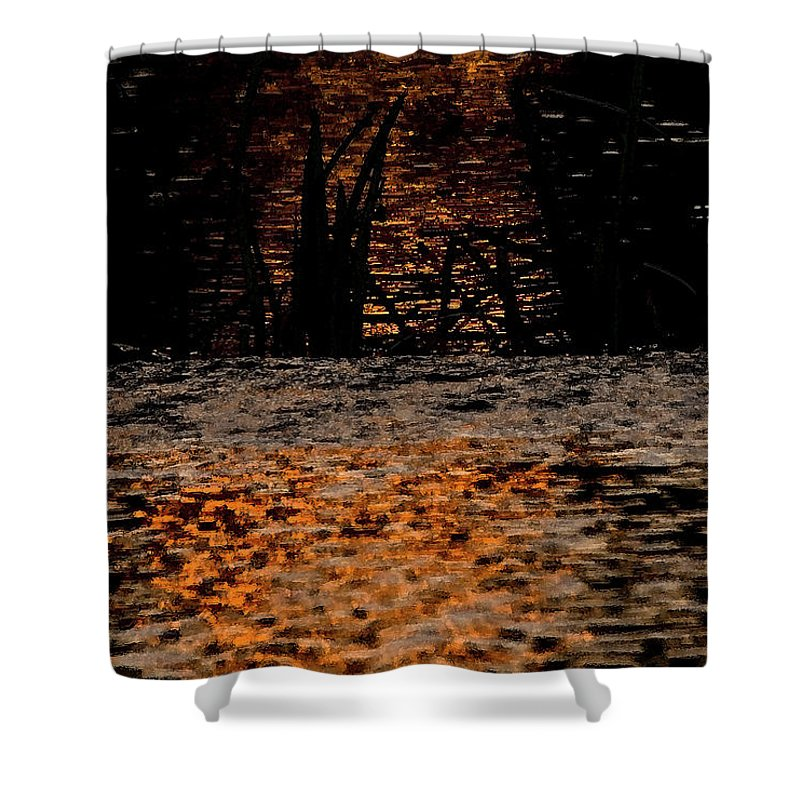 River Shower Curtain featuring the photograph Evening Sun On Small River by Cliff Norton