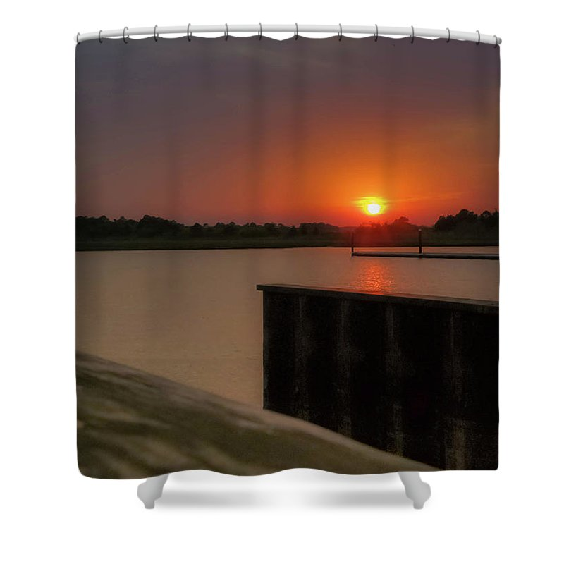 Indian River Marina Shower Curtain featuring the photograph Evening Sunset In May by Amy Bishop