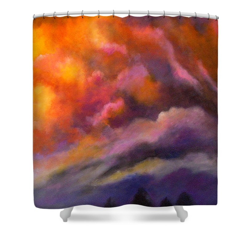 Clouds Shower Curtain featuring the painting Evening Symphony by Alison Caltrider