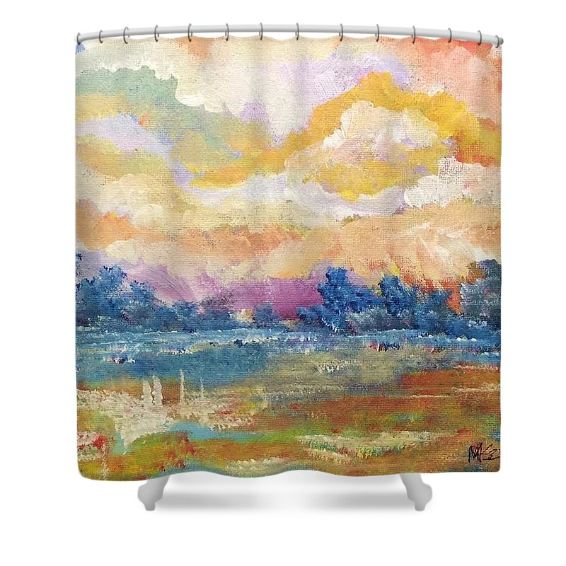 Impressionism Shower Curtain featuring the painting Evening Walk by Mark Szwabo
