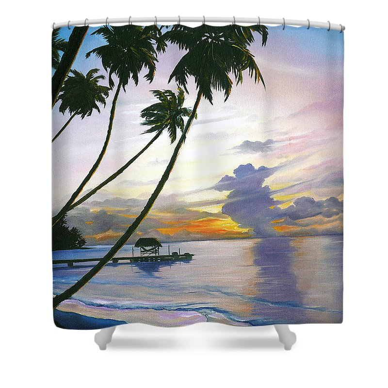 Ocean Painting Seascape Painting Beach Painting Sunset Painting Tropical Painting Tropical Painting Palm Tree Painting Tobago Painting Caribbean Painting Original Oil Of The Sun Setting Over Pigeon Point Tobago Shower Curtain featuring the painting Eventide Tobago by Karin Dawn Kelshall- Best