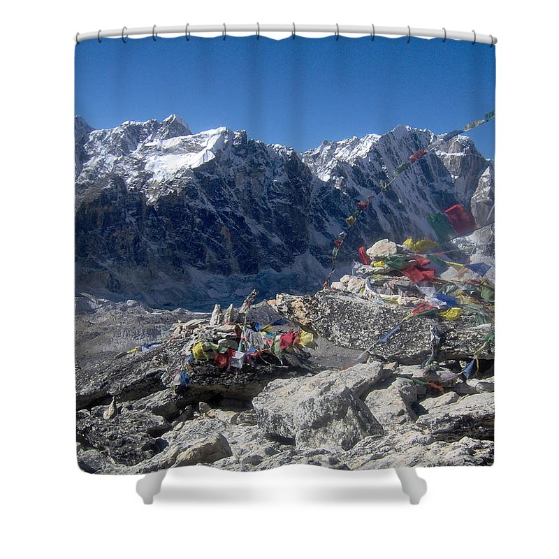 Nepal Shower Curtain featuring the photograph Everest Prayer Flags by Chris Bradley