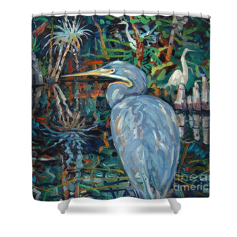 Blue Herron Shower Curtain featuring the painting Everglades by Donald Maier