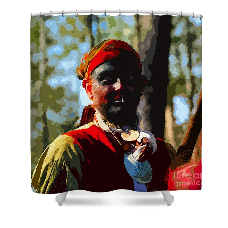 Seminole Indian Shower Curtain featuring the painting Everglades Seminole Portrait Number Three by David Lee Thompson
