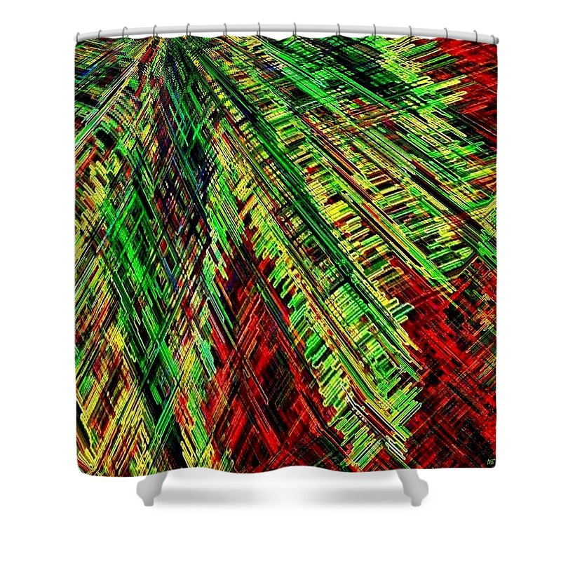 Abstract Shower Curtain featuring the digital art Evergreen by Will Borden