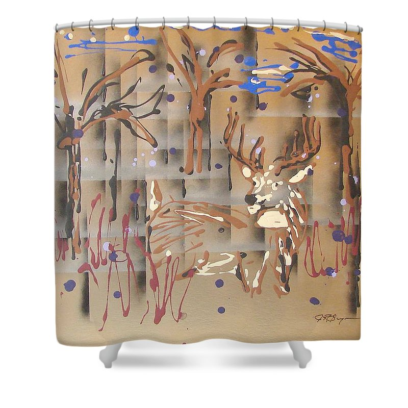 Buck In Tree Line Shower Curtain featuring the painting Everwatchful by J R Seymour