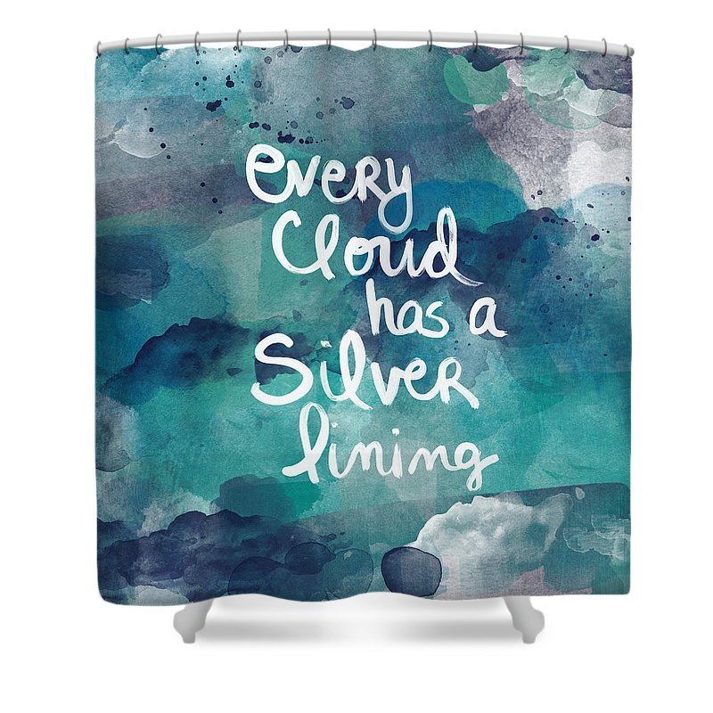 Cloud Shower Curtain featuring the painting Every Cloud by Linda Woods