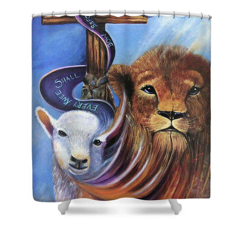 Lion Shower Curtain featuring the painting Every Knee Shall Bow by Sue Stake