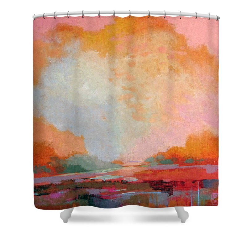 Landscape Shower Curtain featuring the painting Every Morning A Revolution by Mary Brooking