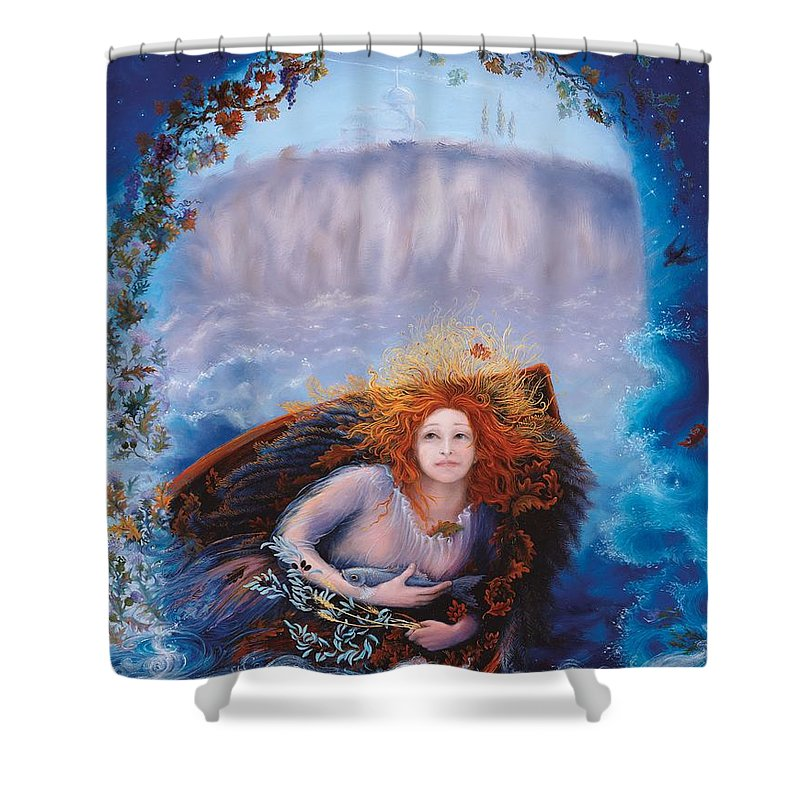 Blessed Angel Shower Curtain featuring the painting Every Soul Is A Universe by Cynthia Johansson-Vasilis