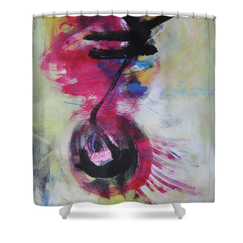 Abstract Paintings Red Paintings Shower Curtain featuring the painting Everything A Mistake-abstract Red Painting by Seon-Jeong Kim