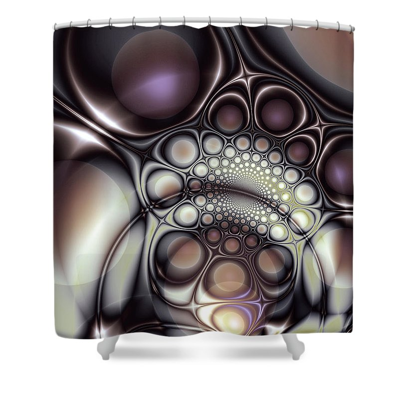 Abstract Shower Curtain featuring the digital art Everything In Its Place by Casey Kotas