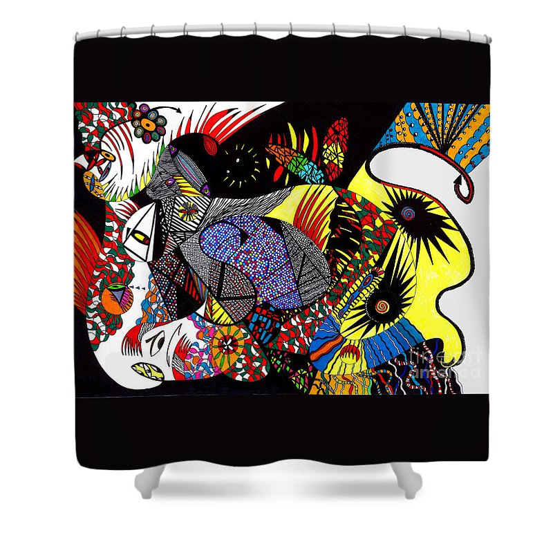 Psychedelic Shower Curtain featuring the painting Evil Born by Safak Tulga
