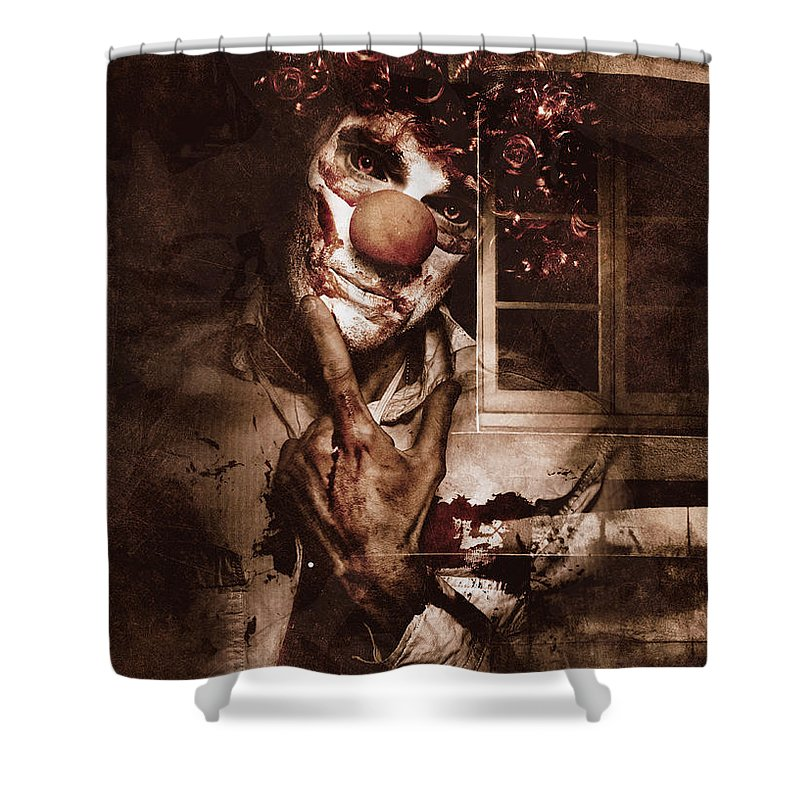 Clown Shower Curtain featuring the digital art Evil Clown Musing With Scary Expression by Jorgo Photography - Wall Art Gallery