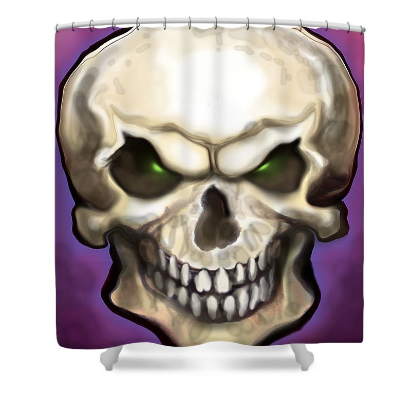 Skull Shower Curtain featuring the painting Evil Skull by Kevin Middleton