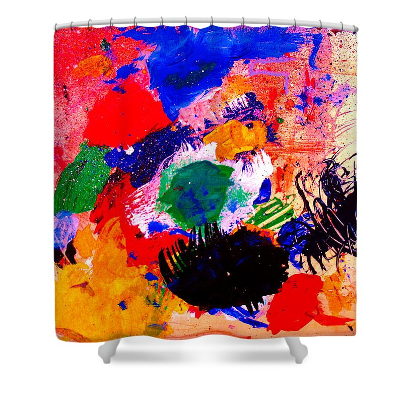 Abstract Shower Curtain featuring the painting Evolving Evolution by Natalie Holland