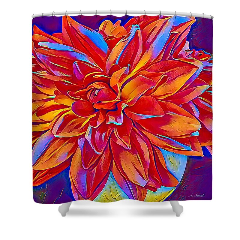 Red Dahlia Shower Curtain featuring the digital art Exciting Red Dahlia by Anne Sands